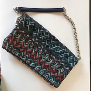 Express beaded fold over clutch